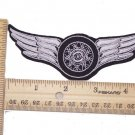 SILVER WINGED WHEEL SMALL PATCH FOR BIKER MOTORCYCLE RIDER NEW