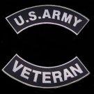 U.S. ARMY plus VETERAN Rocker Patch Set White on Black Background