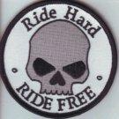 "Ride Hard Ride Free  Skull Patch Badge for Biker Motorcycle Vest Jacket Size 4"""