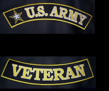 Back Rockers Patch Set US Army Veteran Patches for Motorcycle Jacket Vest