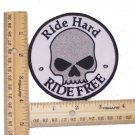 RIDE FREE RIDE HARD HALF SKULL PATCH FOR BIKER MOTORCYCLE JACKET VEST LARGE NEW