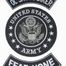 U.S. ARMY OL SKOOL BIKER FEAR NONE Patch Set White on Black Background