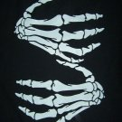 MOTORCYCLE BIKER T SHIRT BLACK WITH WHITE SKELETON HANDS PRINT SIZE L, XL OR XXL