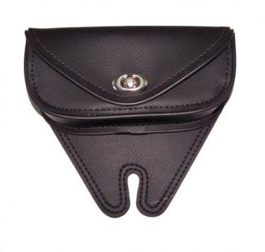Motorcycle Leather Windshield Bag Small Single Pocket Plain Black Heavy Duty