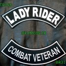 Military Biker Patch Set Lady Rider Combat Veteran Embroidered Patches Sew on Pa