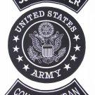 U.S. ARMY SCOUT SNIPER COMBAT VETERAN Patch Set White on Black Background