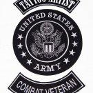 U.S. ARMY TATTOO ARTIST COMBAT VETERAN Patch Set White on Black Background