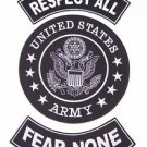 US ARMY RESPECT ALL FEAR NONE PATCHES SET FOR BIKER MOTORCYCLE VEST JACKET