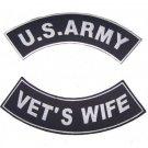 U.S. ARMY plus VET'S WIFE Rocker Patch Set White on Black Background