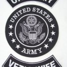 U.S. ARMY VET'S WIFE Patch Set White on Black Background