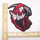 RED GRIM REAPER PATCH DEATH ANGLE FOR BIKER MOTORCYCLE JACKET VEST LARGE NEW
