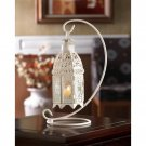 Gallery of Light White Lattice Candle Lantern With Stand