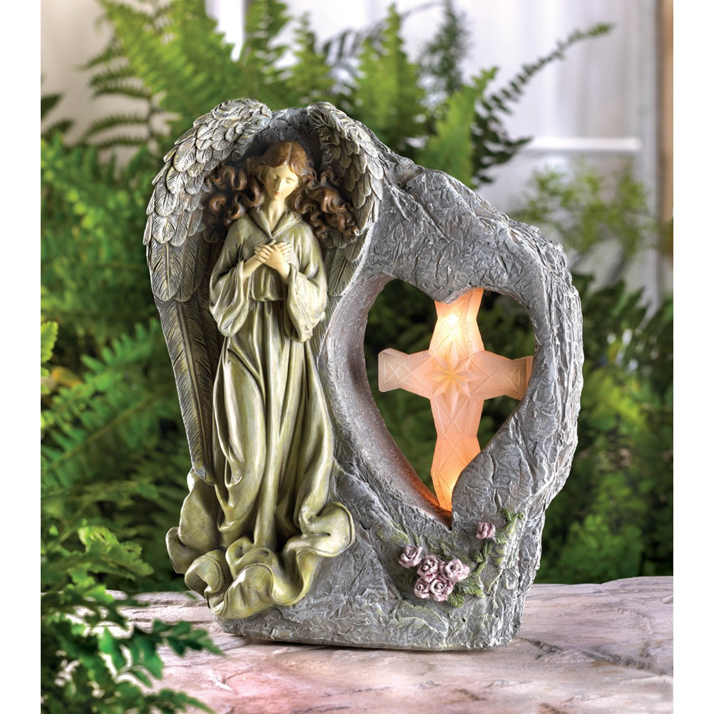 Stone-look Divine Angel And Cross Solar Statue