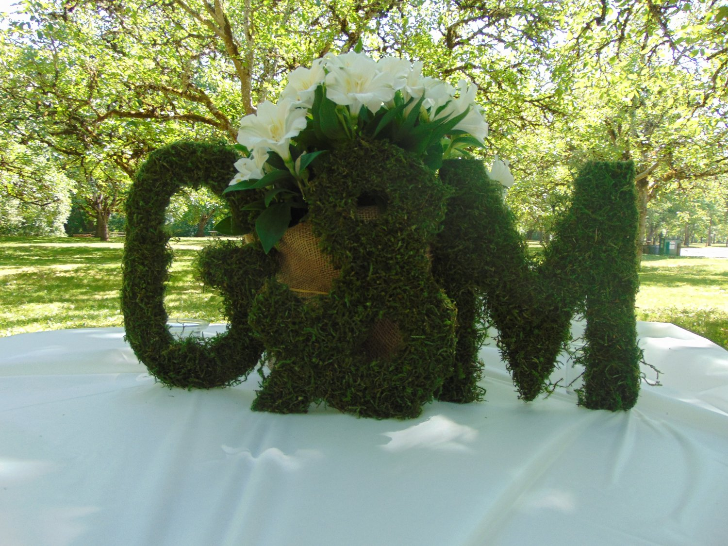 """3 moss letters 10"""" inches tall moss monogram wreath moss home decor wedding gift FREE SHIPPING!"""