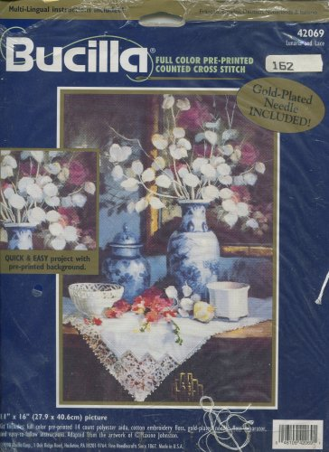 Lunaria and Lace Cross Stitch Kit by Bucilla