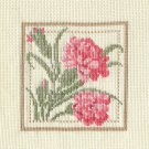 PINK CARNATIONS Finished Completed Stitchery Hand Made