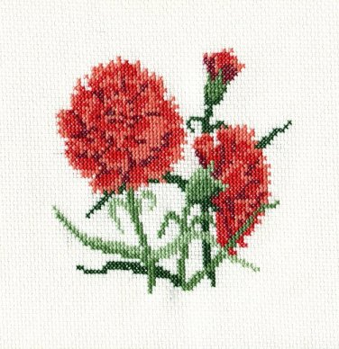 RED CARNATIONS Finished Completed Stitchery Hand Made