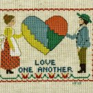 LOVE ONE ANOTHER Finished Completed Stitchery Hand Made