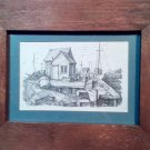 FRAMED Pen and Ink Drawing Print - Gloucester, MA