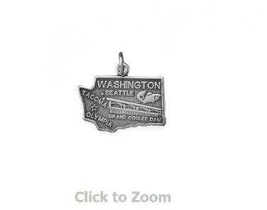 Washington State Polished Sterling Silver Charm Pendant Jewelry 74369-WA