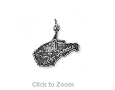 West Virginia State Polished Sterling Silver Charm Pendant 74369-WV