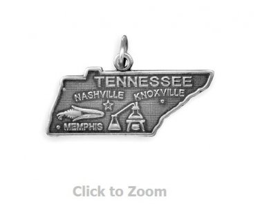 Tennessee State Polished Sterling Silver Charm Pendant Jewelry 74369-TN
