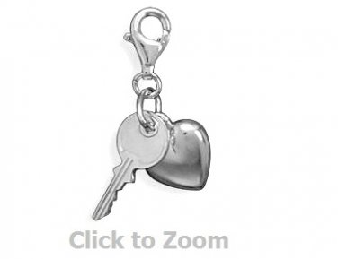 Puffy Heart and Key Lobster Claw Sterling Silver Pendant Charm Jewelry 73746