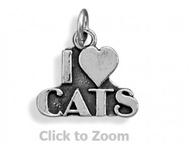 """I love Cats"" Sterling Silver Pendant Charm Jewelry 73709"