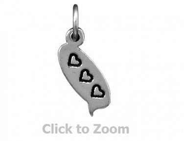 Trio Heart Text Message Bubble Chat Sterling Silver Pendant Charm 74009