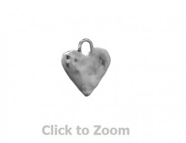 Oxidized Textured Love Heart Sterling Silver Pendant Charm Jewelry 74072