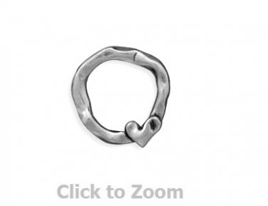 Oxidized Circle and Love Heart Slide Sterling Silver Pendant 74073