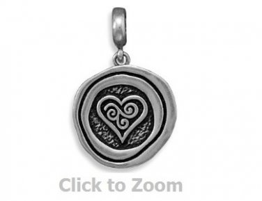 Oxidized Circle and Love Heart Sterling Silver Pendant Jewelry 74074