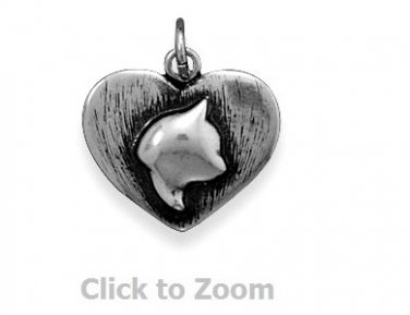 Oxidized Kitty Cat Silhouette Heart Sterling Silver Charm Pendant Jewelry 74106