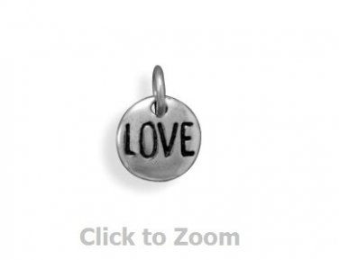 Oxidized Love Heart Disk Sterling Silver Charm Pendant 74111