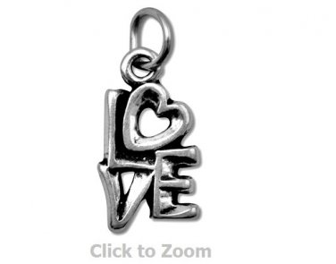 """Oxidized """"LOVE"""" Sterling Silver Charm Pendant 74448"""