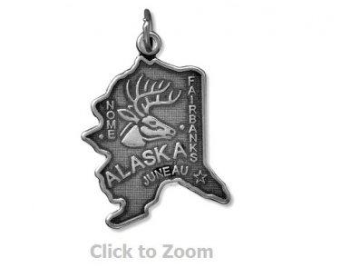 Alaska State Polished Sterling Silver Charm Pendant Jewelry 74369-AK