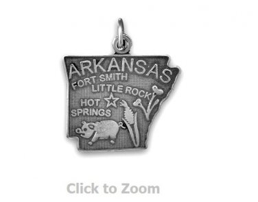Arkansas State Polished Sterling Silver Charm Pendant 74369-AR