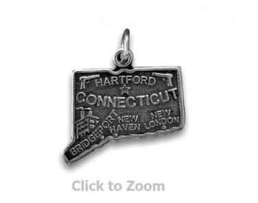 Connecticut State Polished Sterling Silver Charm Pendant Jewelry 74369-CT