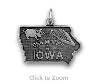 Iowa State Polished Sterling Silver Charm Pendant Jewelry 74369-IA