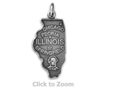 Illinois State Polished Sterling Silver Charm Pendant 74369-IL