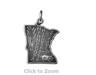 Minnesota State Polished Sterling Silver Charm Pendant Jewelry 74369-MN