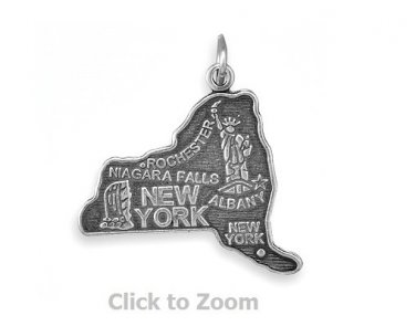 New York State Polished Sterling Silver Charm Pendant Jewelry 74369-NY