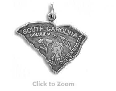 South Carolina State Polished Sterling Silver Charm Pendant Jewelry 74369-SC