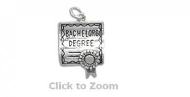 Bachelor's Degree Graduation Sterling Silver Charm Pendant Jewelry 73367