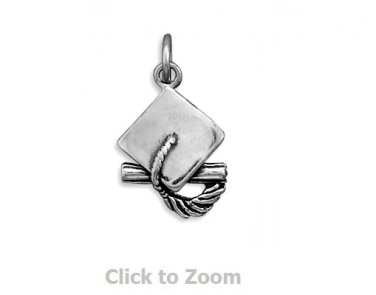 Graduation Cap and Tassel Sterling Silver Charm Pendant Jewelry 5497