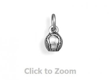 Oxidized Sterling Silver Base Ball Jewelry Charm 74416