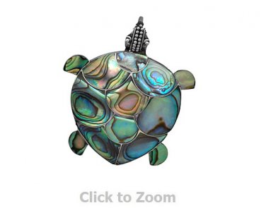 Sterling Silver Paua Shell Turtle Pin/Pendant Jewelry  4404