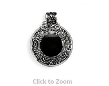 Hinged Ornate Black Shell Pendant Jewelry  73819
