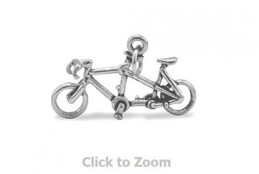 Oxidized Sterling Sliver Tandem Bicycle Jewelry Charm 74421