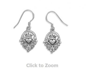 Sterling Silver Claddagh Earrings on French Wire Jewelry 6966